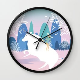 The Girl and the Bull in the Meadow Wall Clock