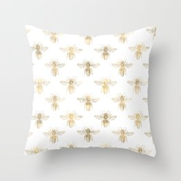Gold Bee Pattern Throw Pillow