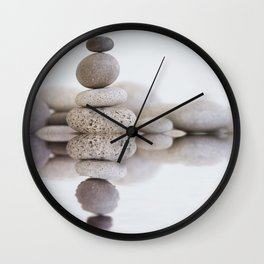 Stone Balance pebble cairn and water Wall Clock