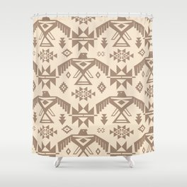 Southwestern Thunderbird Kilim in Ecru + Taupe Shower Curtain