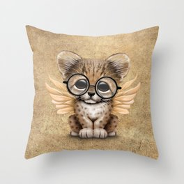 Cheetah Cub with Fairy Wings Wearing Glasses Throw Pillow