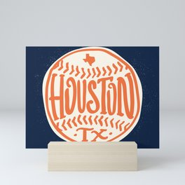 Hand Drawn Baseball for Houston Texas with custom Lettering Mini Art Print