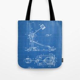 Drum Pedal Patent - Drum Set Art - Blueprint Tote Bag