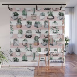 Potted Cactus Stripes Pink Rose Gold Wall Mural