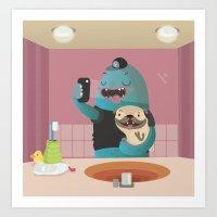 bathroom Art Prints featuring Bathroom selfie by Maria Jose Da Luz