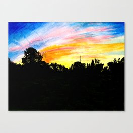 Colorful Sunset Tree Silhouette Watercolor Canvas Print