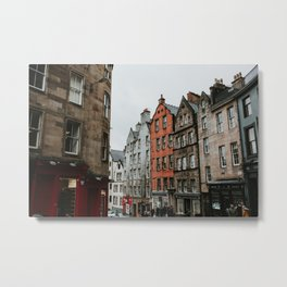 Streets of Edinburgh photo print | Colourful travel photography | Edinburgh, Scotland Metal Print