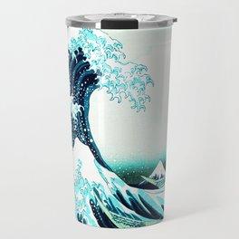 the great wave : aqua teal Travel Mug