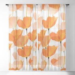Orange Poppies On A White Background #decor #society6 #buyart Sheer Curtain