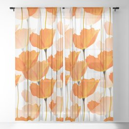Orange Poppies On A White Background #decor #society6 #buyart Sheer Curtain