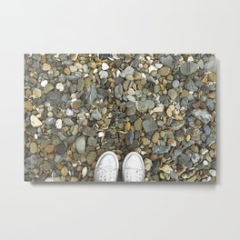 Brown pebbles and silver shoes Metal Print