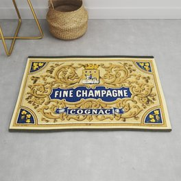 Vintage French Fine Champagne Cognac Bottle Label Print Rug