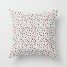 English Rose Pattern on Blue Throw Pillow