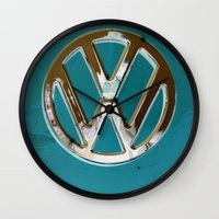 vw bus Wall Clocks featuring Turquoise Beauty VW Bus by wildVWflower
