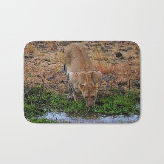 Lioness At The Waterhole Bath Mat