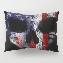 American Flag Punisher Skull Grunge Distress USA Pillow Sham