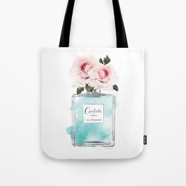 Perfume, watercolor, perfume bottle, with flowers, Teal, Silver, peonies, Fashion illustration, Tote Bag