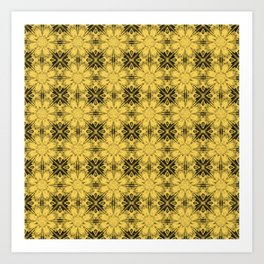 Primrose Yellow Floral Geometric Art Print