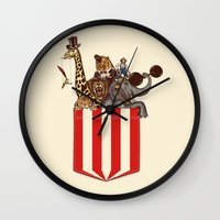 pocket Wall Clocks featuring Pocket Circus by Sachpica