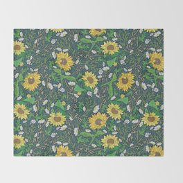 Yellow sunflowers among white chamomile and oats Throw Blanket
