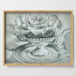 Rose Pearls Teacup Still Life Modern Cottage Chic Decor Art A482 Serving Tray