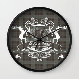 Outlander plaid with Je Suis Prest crest Wall Clock