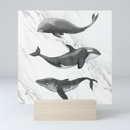 Ocean Whales Marble Black and White Mini Art Print