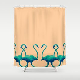 Flamingo dance_sunset Shower Curtain