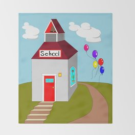 An Ole School House with Balloons Throw Blanket