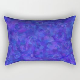 Royal Blue Floral Abstract Rectangular Pillow