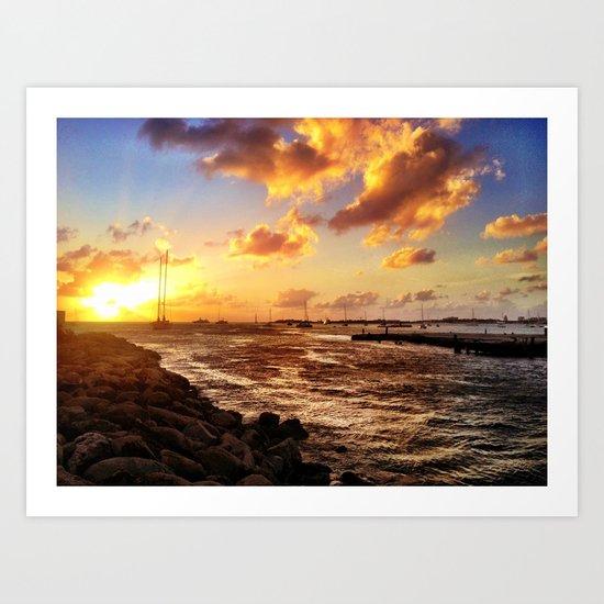 St. Maarten Sunset Yacht-Spotting  Art Print