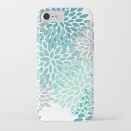 Floral Pattern, Aqua, Teal, Turquoise and Gray iPhone Case