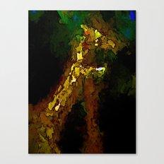Gold Giraffes, Green Trees and Blue Sea Canvas Print