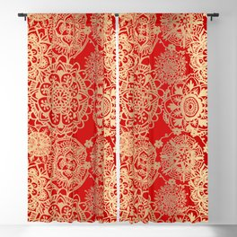 Red and Gold Mandala Pattern Blackout Curtain