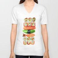sushi V-neck T-shirts featuring Sushi by Sam Luotonen