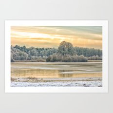 Walk on the winter lake Art Print