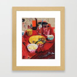 Red table cloth Framed Art Print