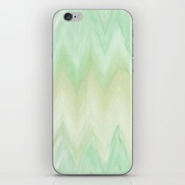 Hand painted mint green watercolor gradient chevron ikat iPhone Skin