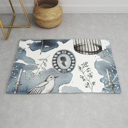 Cute watercolor fairy tales vintage hand drawn illustration pattern Rug