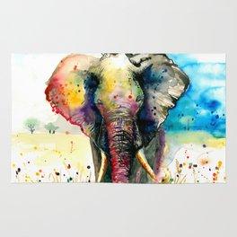 RAINBOW ELEPHANT WATERCOLOR Rug