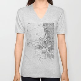Vintage Map of Oakland California (1959) BW Unisex V-Neck