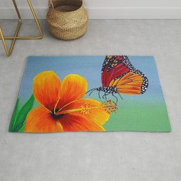 Lily with Butterfly Rug
