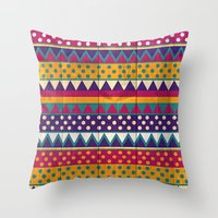 mexican Throw Pillows featuring Mexican Pattern by Eleaxart