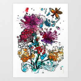 Floral watercolor abstraction Art Print