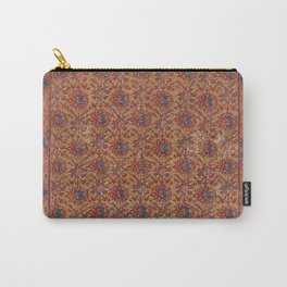 Mustard Floral Vine I // 17th Century Distressed Red Yellow Blue Colorful Ornate Accent Rug Pattern Carry-All Pouch