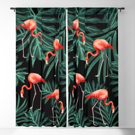Summer Flamingo Jungle Night Vibes #2 #tropical #decor #art #society6 Blackout Curtain