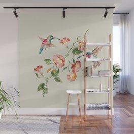 hummingbirds & morning glories Wall Mural
