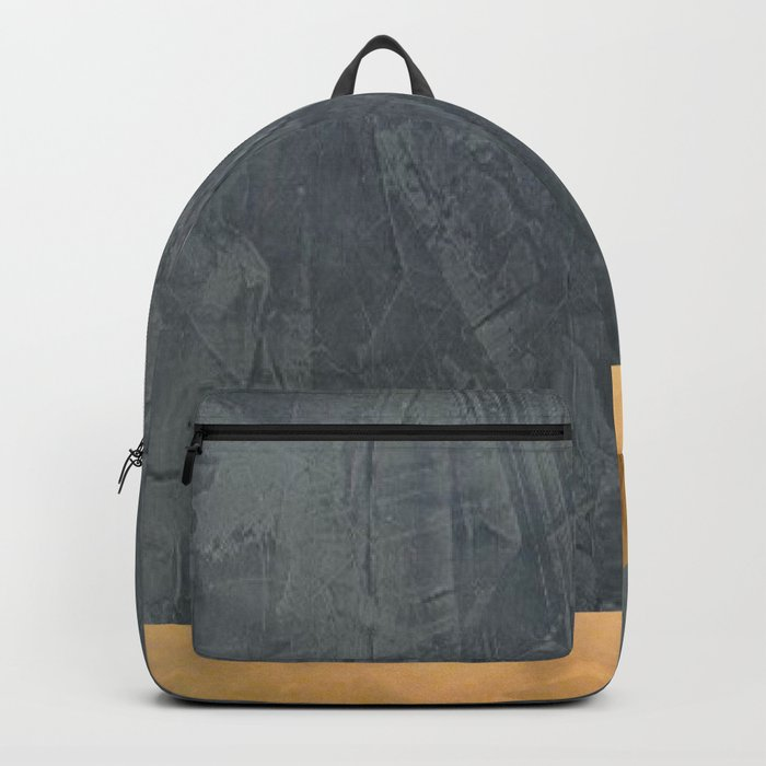 Slate Gray Stucco w Shiny Copper Metallic Trim - Faux Finishes - Rustic Glam Backpack