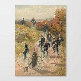 Vintage Bicycle Race 1800s Bike Riders Canvas Print