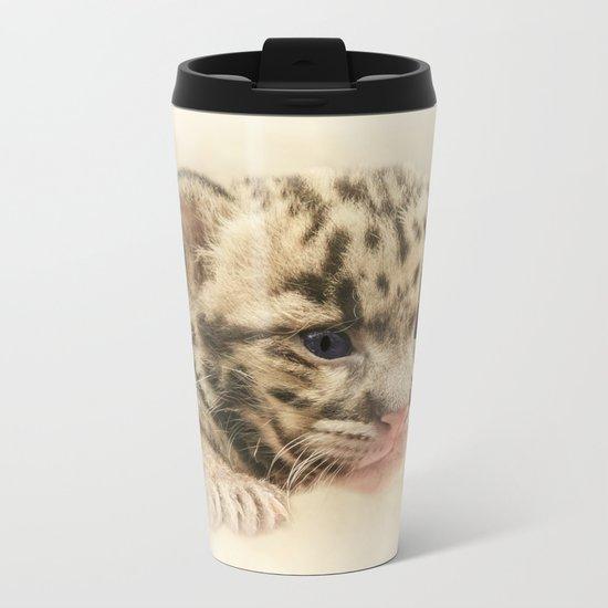 CUTE CLOUDED LEOPARD CUB Metal Travel Mug